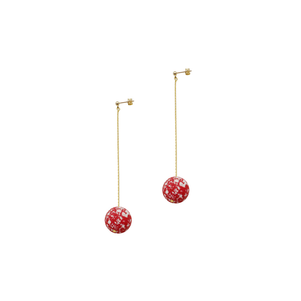 Snow Red Ball Chain Drop Earrings (Quick to ship) - AHED Project