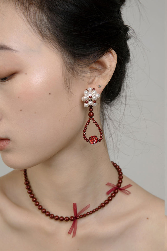 PROMISE Series - Sweet Pomegranate Red Asymmetrical Drop Earrings