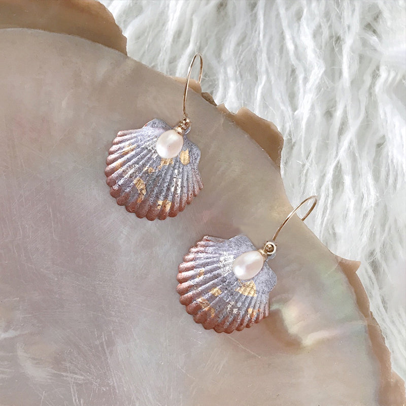 Ocean Glow Series - Hand Crafted Shell-Shape Semi Hoop Earrings