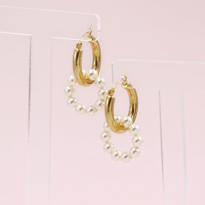 Gold & Pearl Detachable Hoop-In-Hoop Earrings - AHED Project