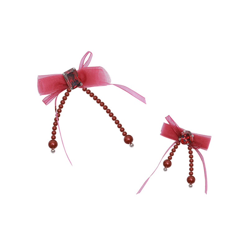 PROMISE Series - Pomegranate Red  Bow Asymmetrical Earrings
