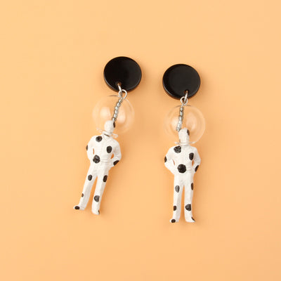 Bubble Head Polka Dots Figure Drop Earrings