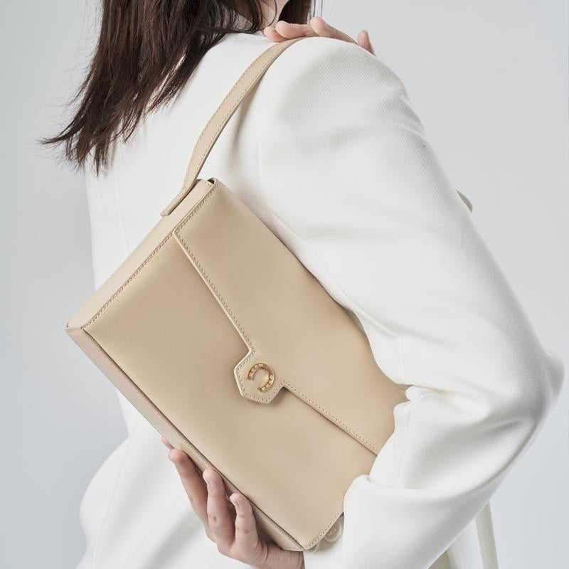 Box Calf Shoulder/Underarm Bag - Pavlova