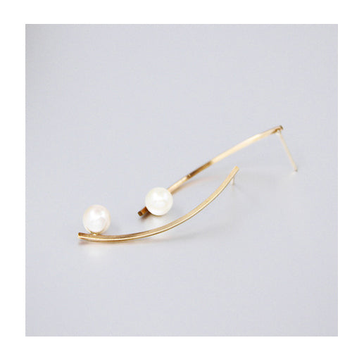 Aqua Luster Series - 14K Gold Filled Arch Line Pearl Earrings - AHED Project