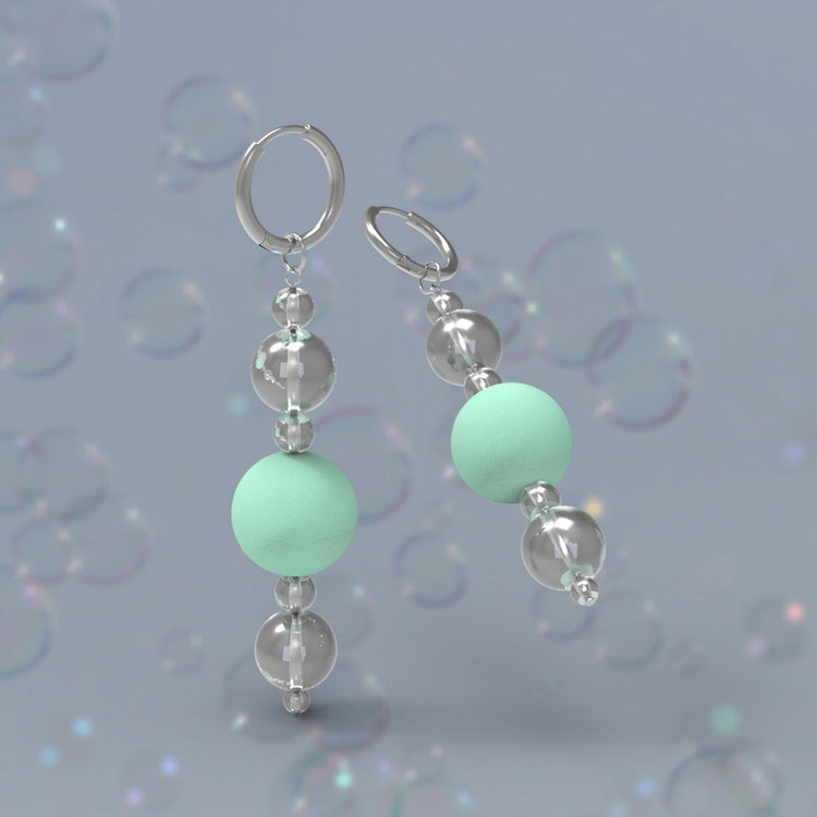 Retro Bubble Drop Earrings - Mint Green
