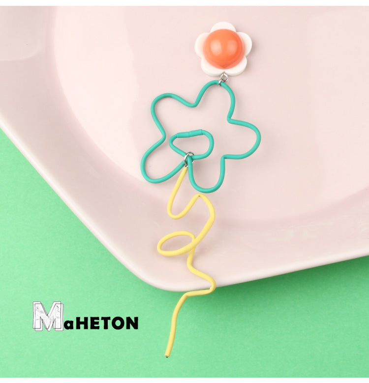 Playful Squiggly Long Flower Statement Earring - AHED Project