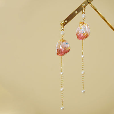 Ocean Glow Series - Hand Painted Keshi Pearl Flakes Earrings