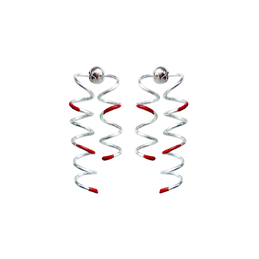 Double Spirals Stud Earrings - Red Enamel