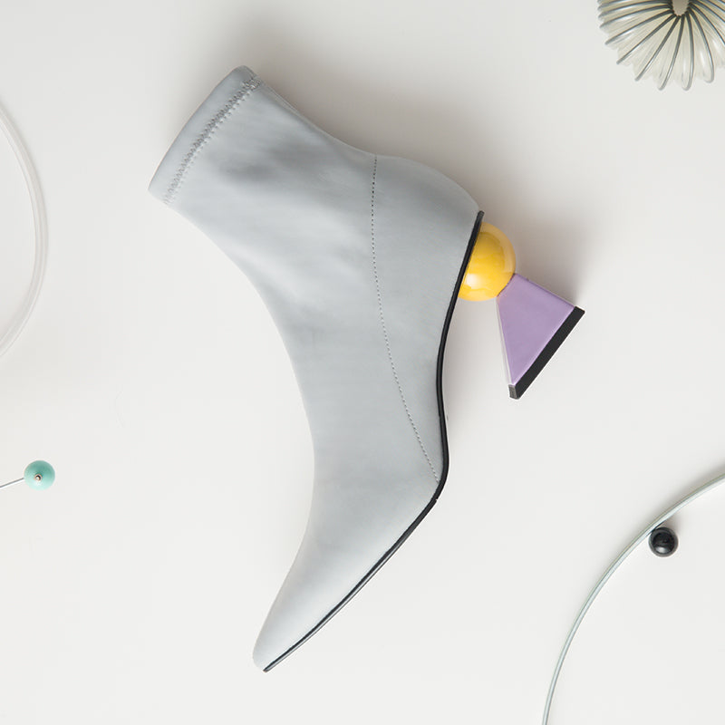 Geometric Heel Sock Boot - Grey