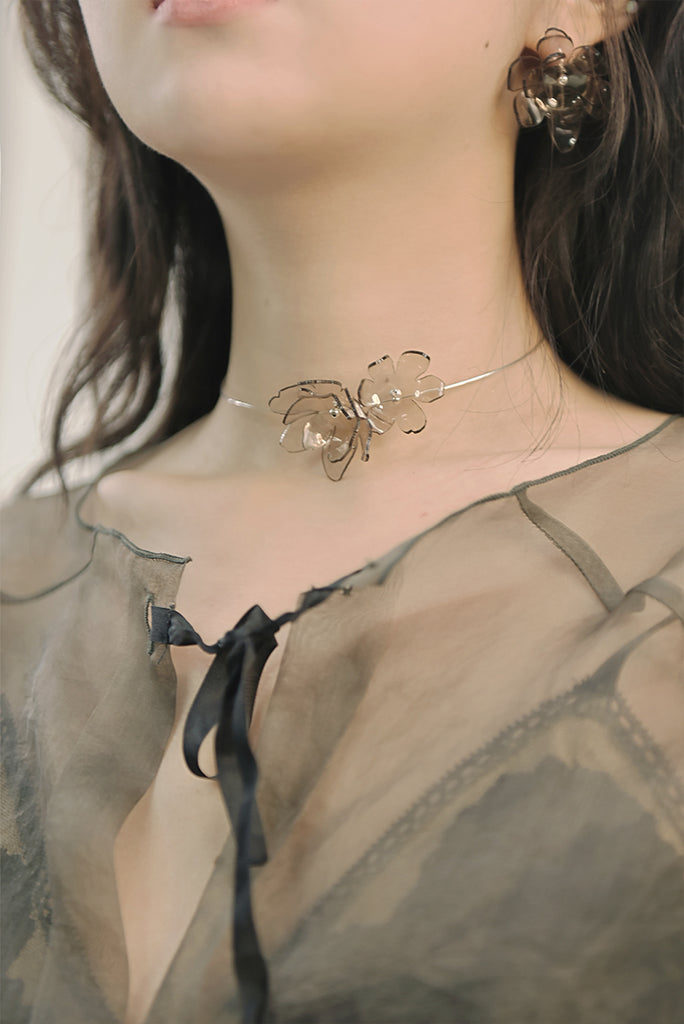 Smoky Bloom Series - Ethereal Acrylic Flower Wire Neck Lace - AHED Project