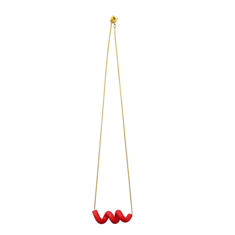 Red Spiral Clay Bar 18K Gold Plated Necklace (Quick to ship)