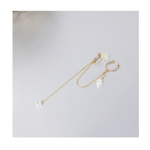 Aqua Luster Series - Droplet Crystal Chain Threader Earrings - AHED Project