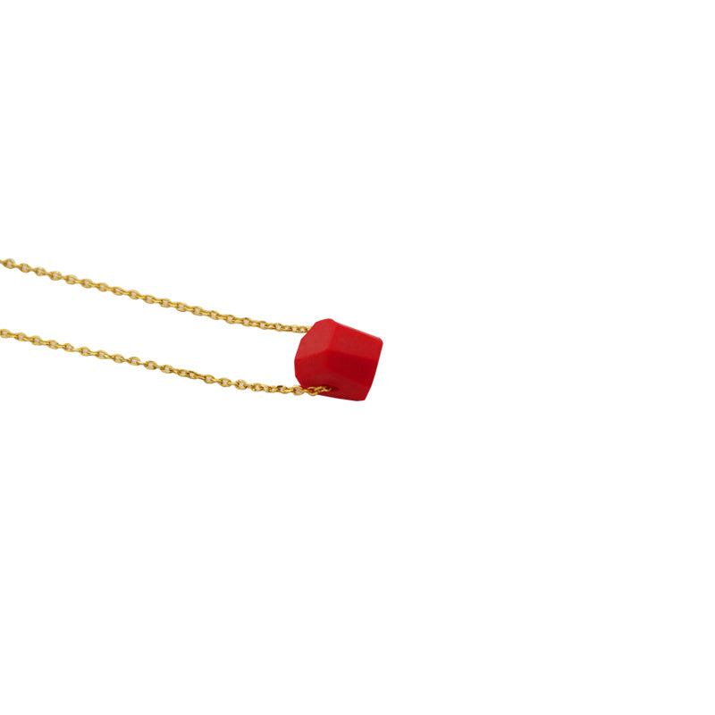 Fortune Red Series Hand-Cut 18K Gold Plated Dainty Necklace
