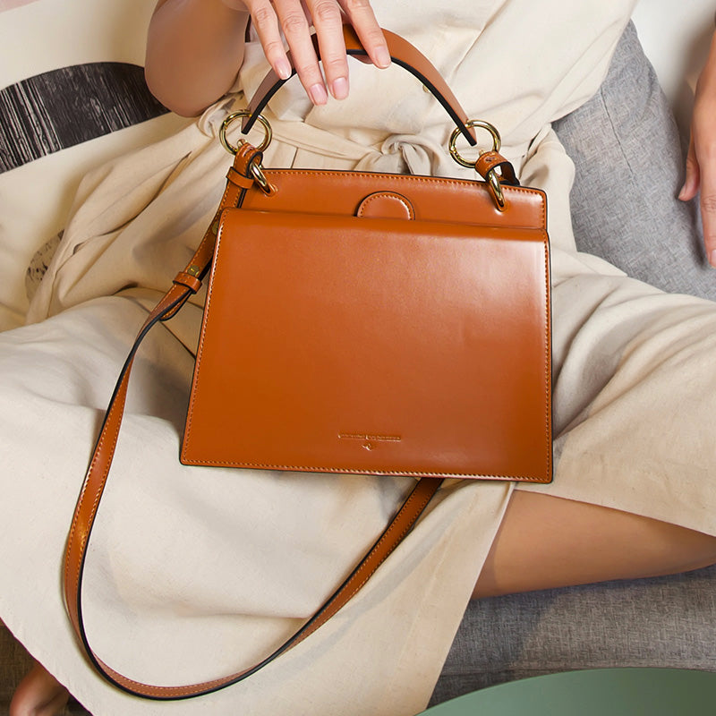 Classic Top Handle Double Compartment Handbag - Caramel