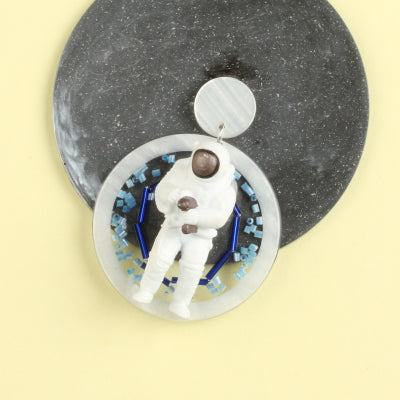 Space Walking Astronaut Resin Disc Earring