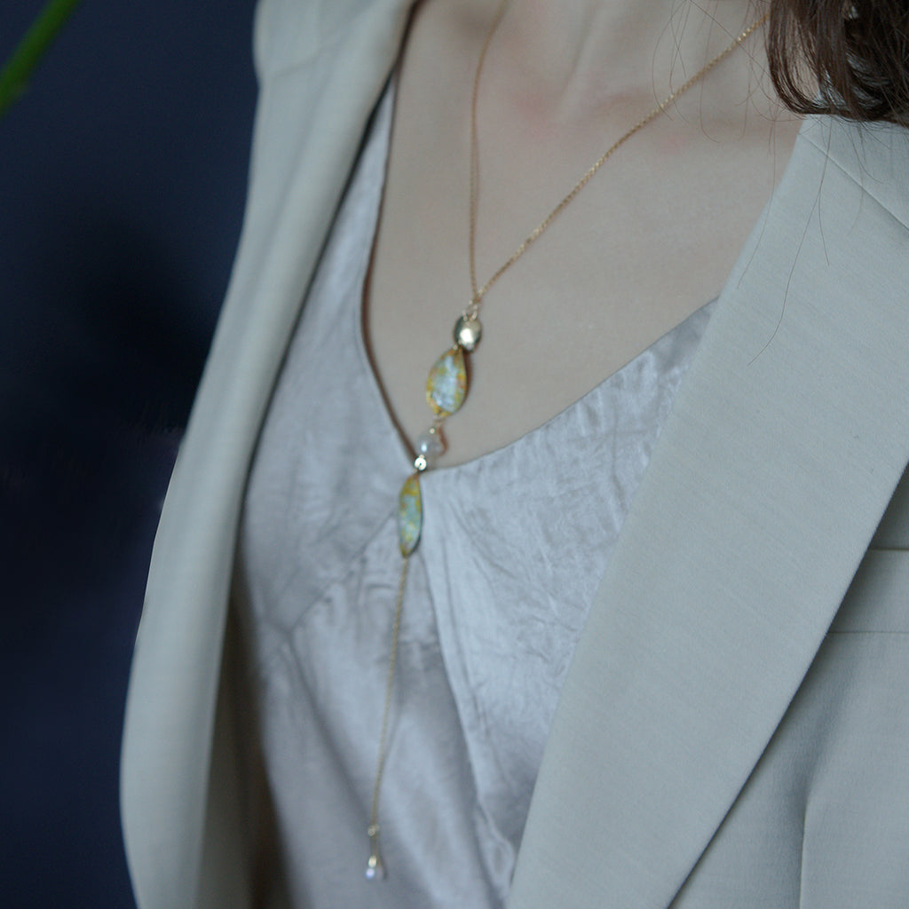 Sweet Osmanthus Blossom Series - Long Drop Pearl Necklace