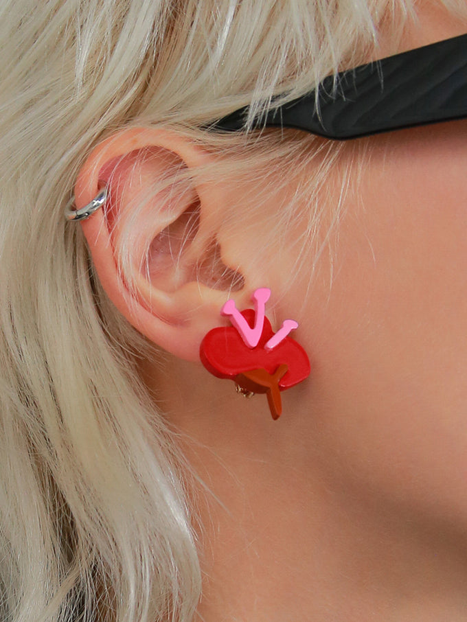 Fun Acrylic Red Floral Stud Earrings