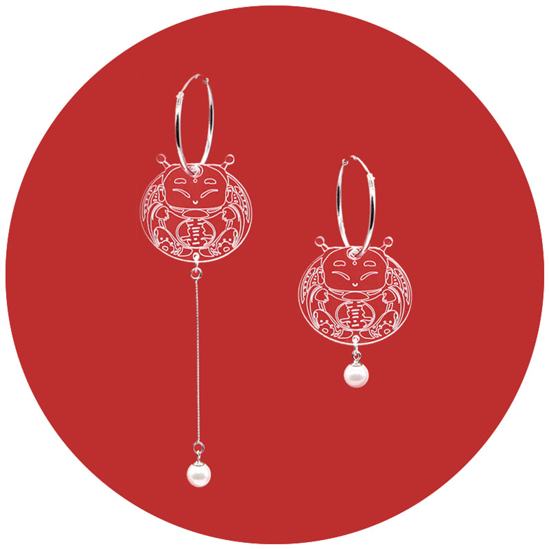 Asymmetrical Paper-Cut Fortune Doll Inspired Drop Earrings - AHED Project