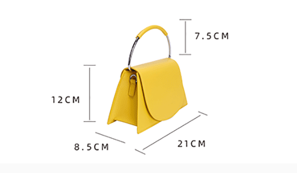 Top Handle Structured Trapezoid Bag - Yellow