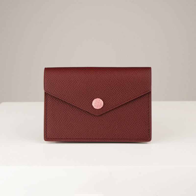 Timeless Handmade Card Case - Luxurious Epsom Leather In Wine Red