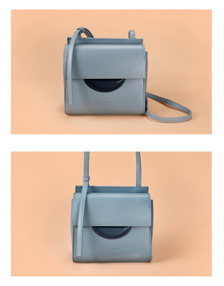 Spacious Leather Crossbody Package Bag - Blue - AHED Project