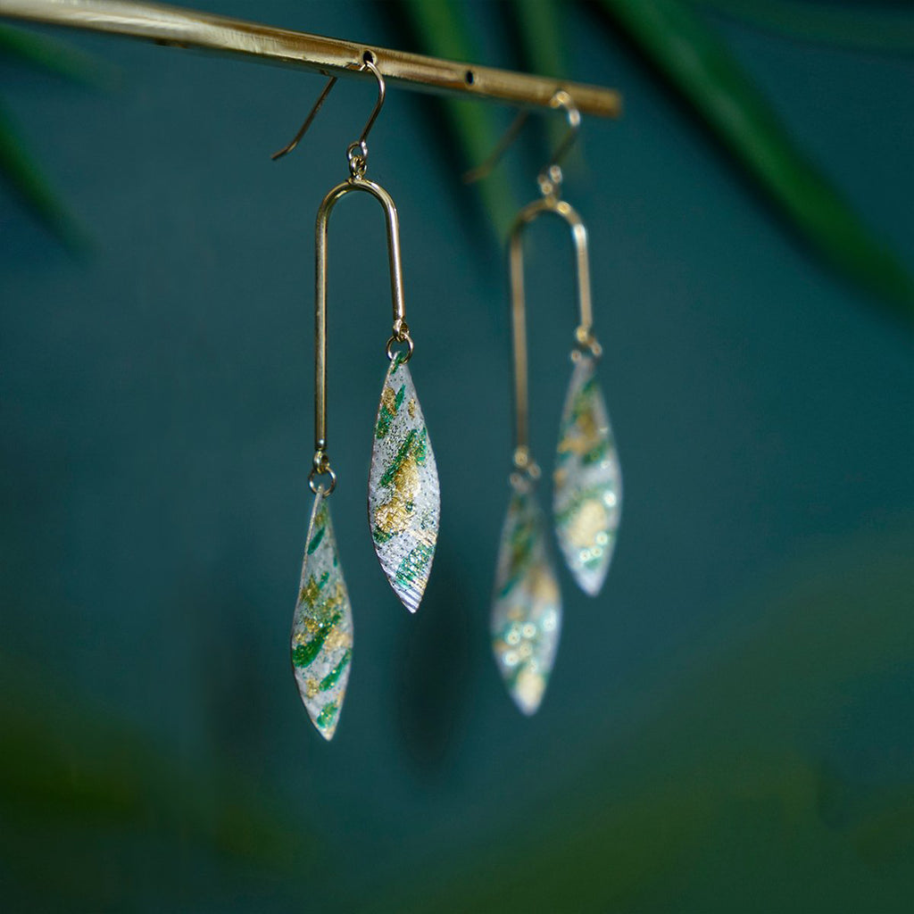 Bamboo Forest Series - Double Leaves Drop Earrings (Quick to ship)