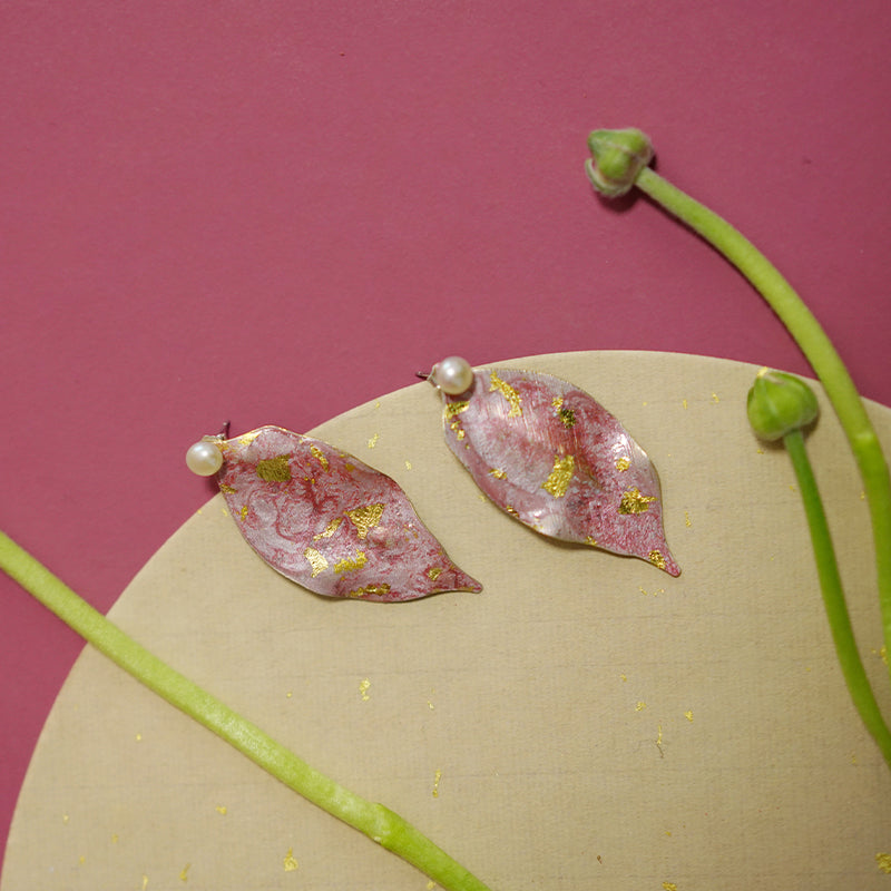 Delicate Hand-Painted Pink & Gold Peach Leaf Stud Earrings