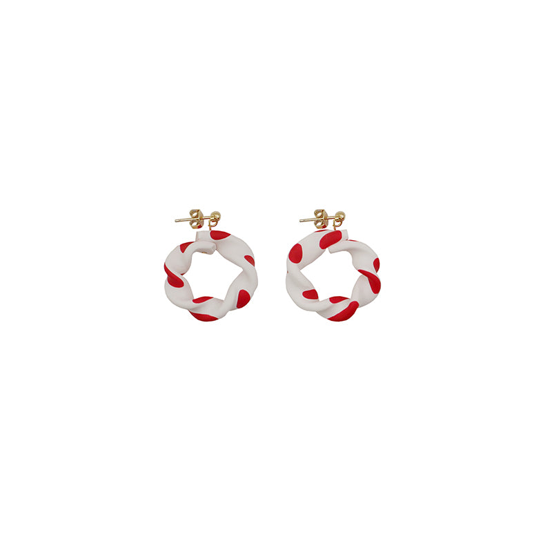 Lovely Polka Dot Twisted Hoop Earrings - AHED Project