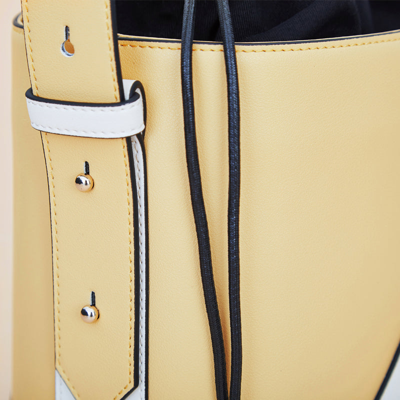 Color Blocks Drawstring Leather Bucket Bag - 2 Shades - AHED Project