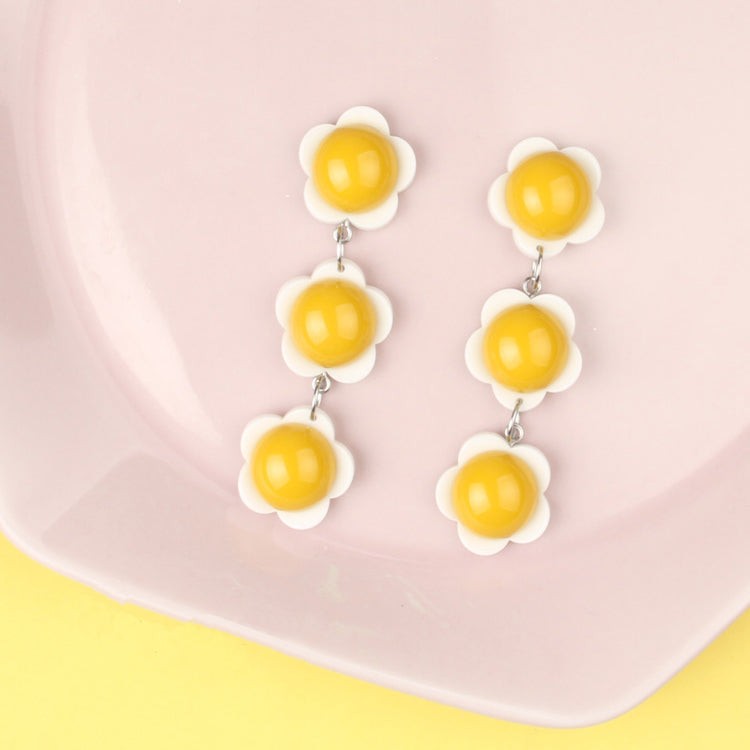 3D Egg Flowers Stacked Link Drop Earrings