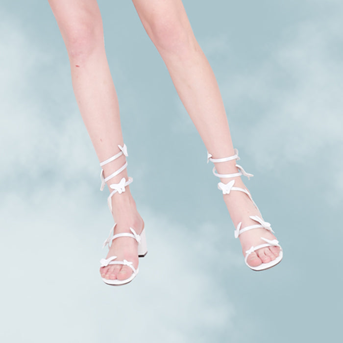 Butterfly Lace-Up Block Heel Sandals
