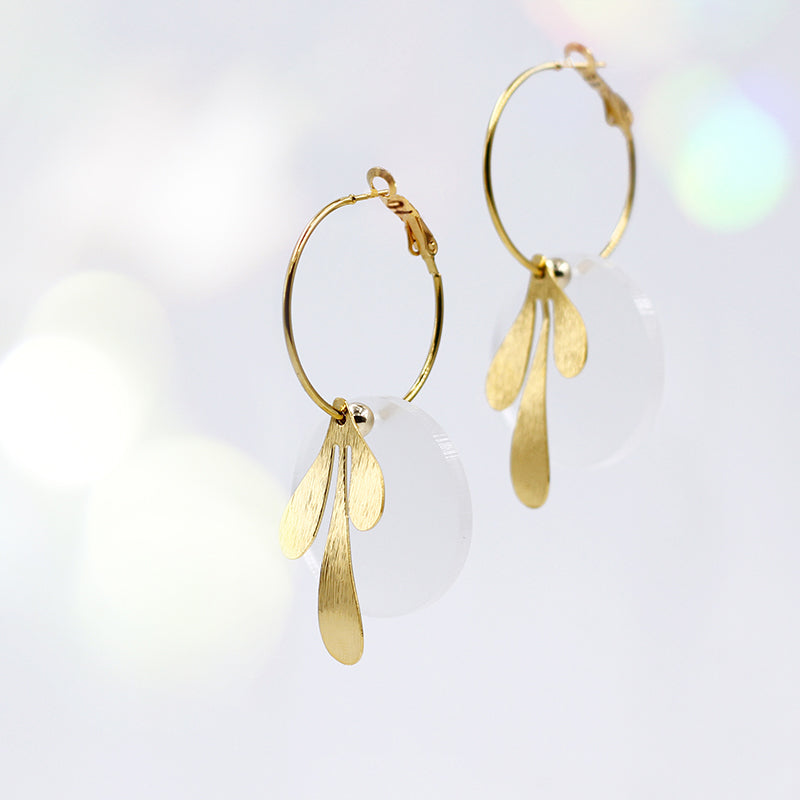 Vintage-Inspired Mix&Match Hoop Earrings - Cloudy White & Gold