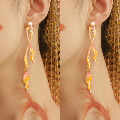 Lucky Koi Series - Fish Tail Drop Earrings