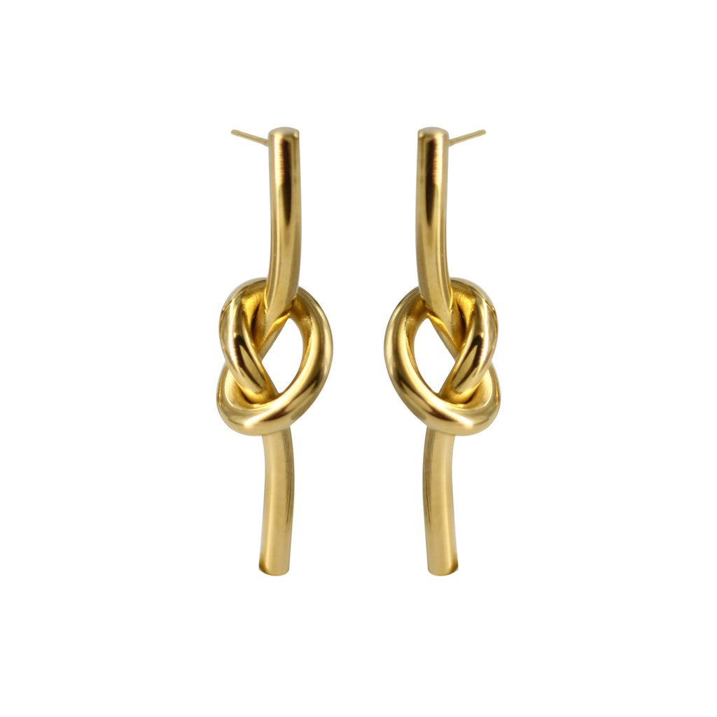 18K Gold Plated Artistic Knot Drop Earrings - AHED Project