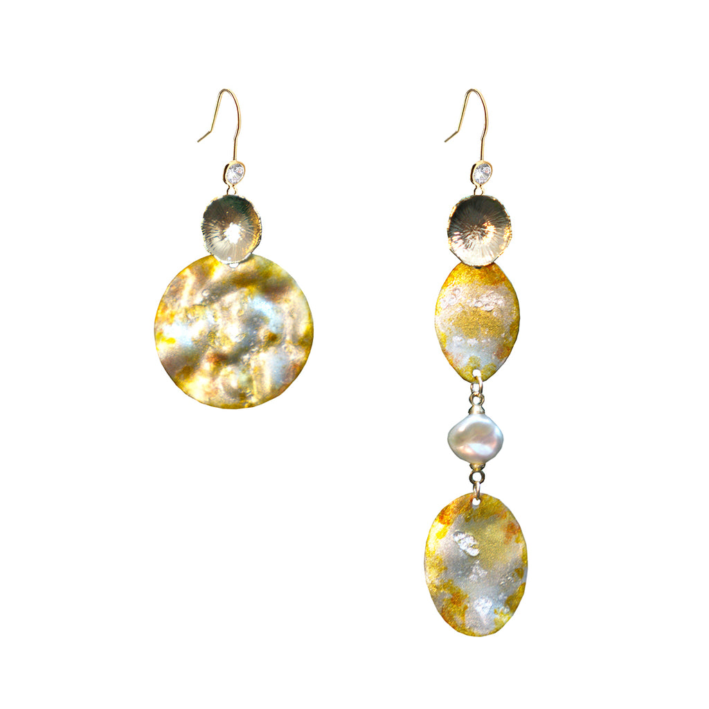 Sweet Osmanthus Blossom Series - Textured Artisan Drop Earrings