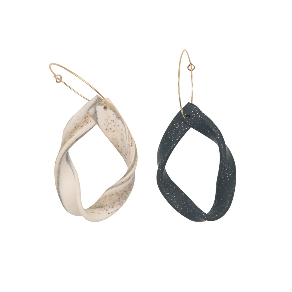 Twisted Glittery Clay Hoop Drop Earrings