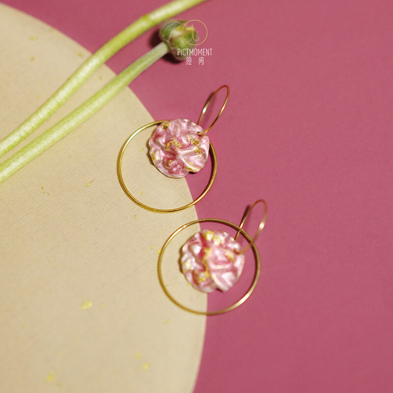 Hand-Painted Pink & Gold Peach Leaf Double Hoop Earrings - AHED Project