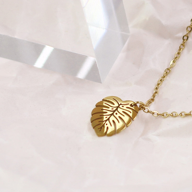 18K Gold Plated Swiss Cheese Plant Leaf Necklace - AHED Project