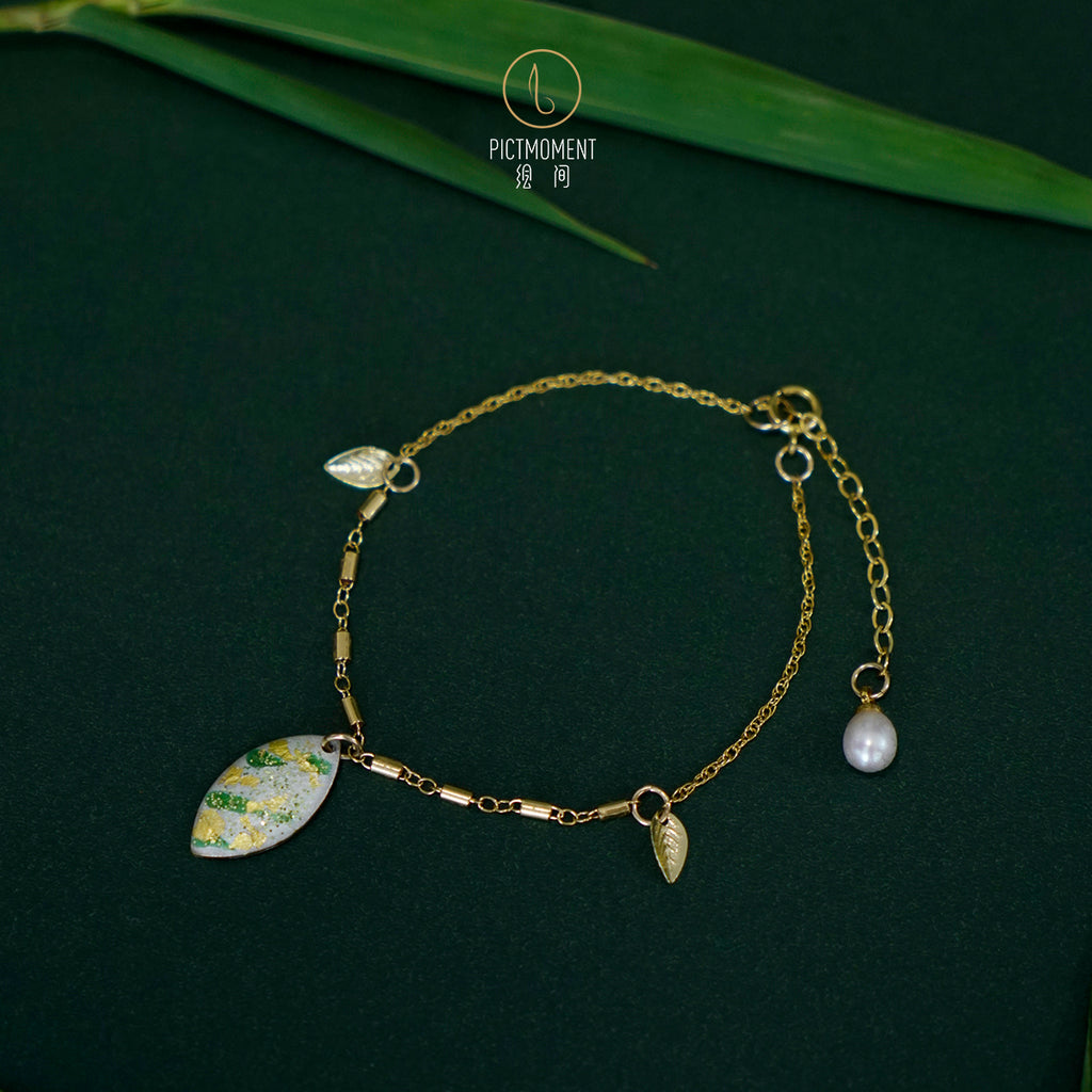 Bamboo Forest Series - 14K Gold Filled Pearl Drop Bracelet - AHED Project