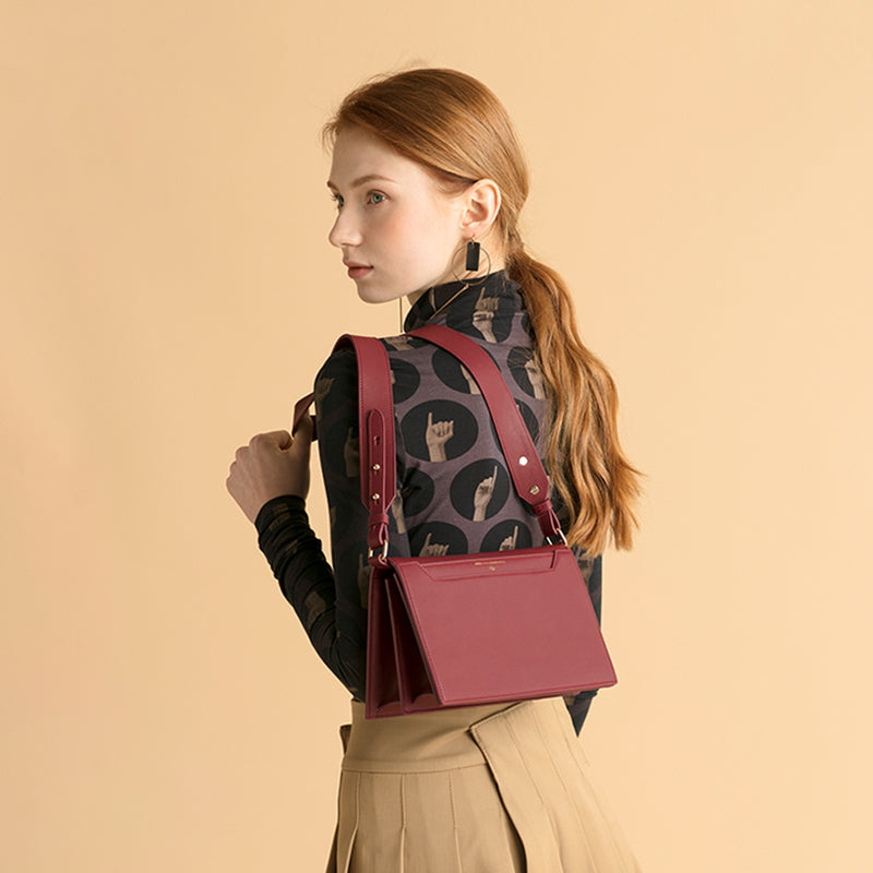 Structured Double Compartment Crossbody Leather Bag - Burgundy