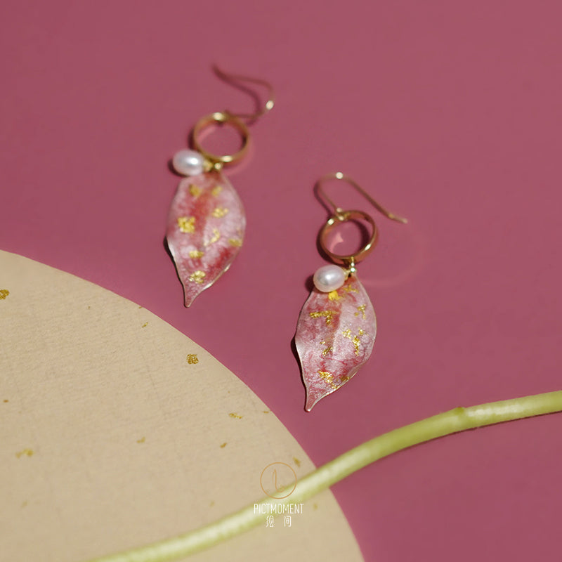 Hand-Painted Pink & Gold Peach Leaf Drop Pearl Earrings - AHED Project