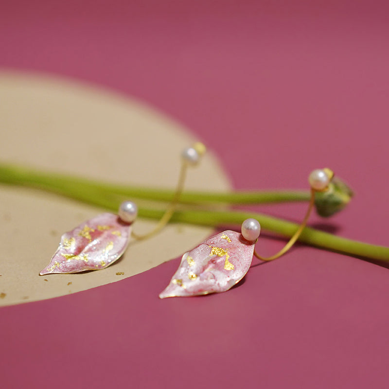 Hand-Painted Pink & Gold Peach Leaf C Shape Stud Earrings