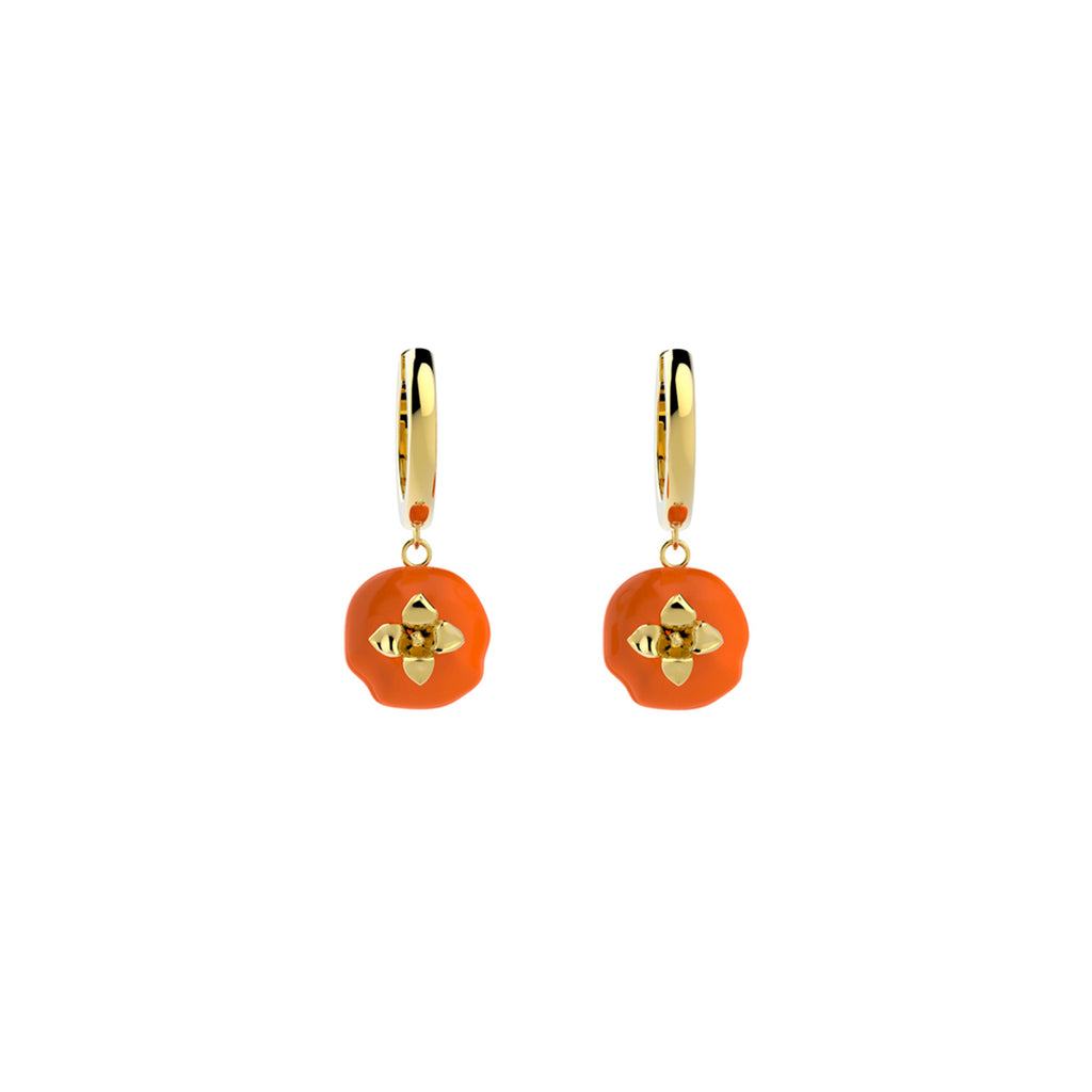 Auspicious Persimmon Series Hoop Drop Earrings