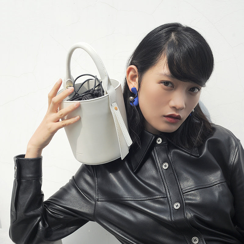 Retro Minimal Leather Bucket Crossbody Bag - 2 Shades