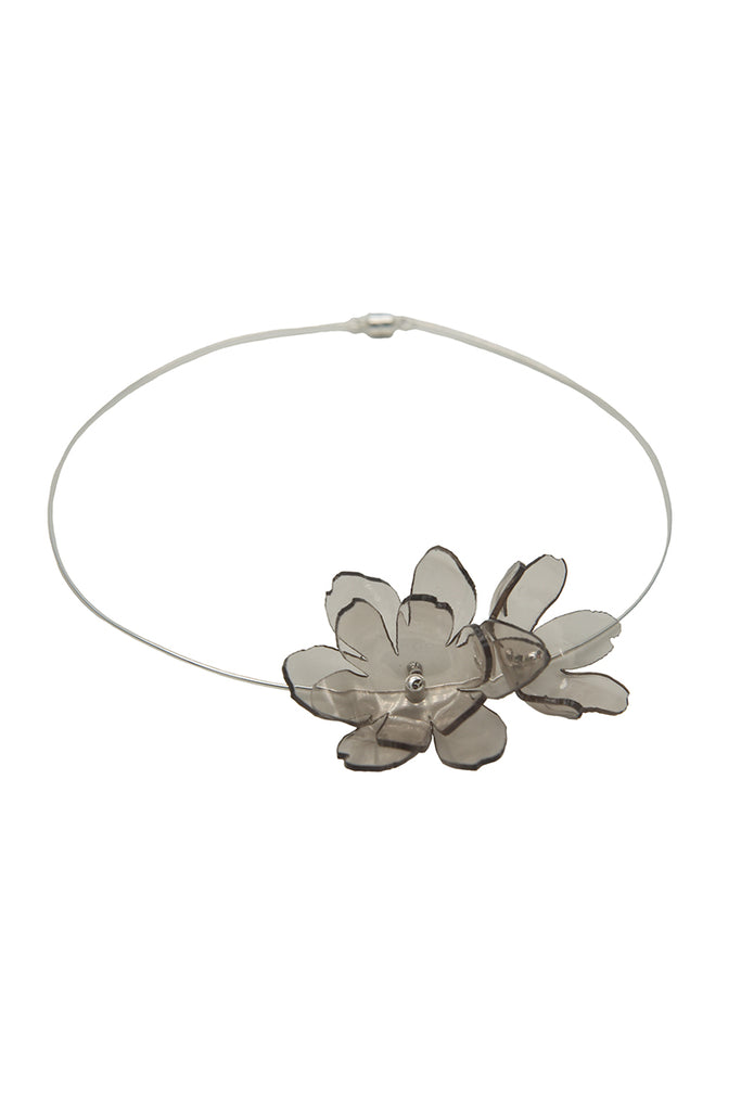 Smoky Bloom Series - Ethereal Acrylic Flower Wire Neck Lace