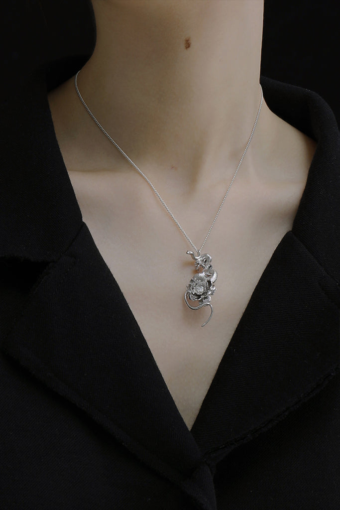 The Magnificent Peony Series - Snake On Peony Necklace