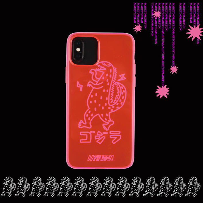 Black Light Glow TPU Phone Case - Red Dinosaur
