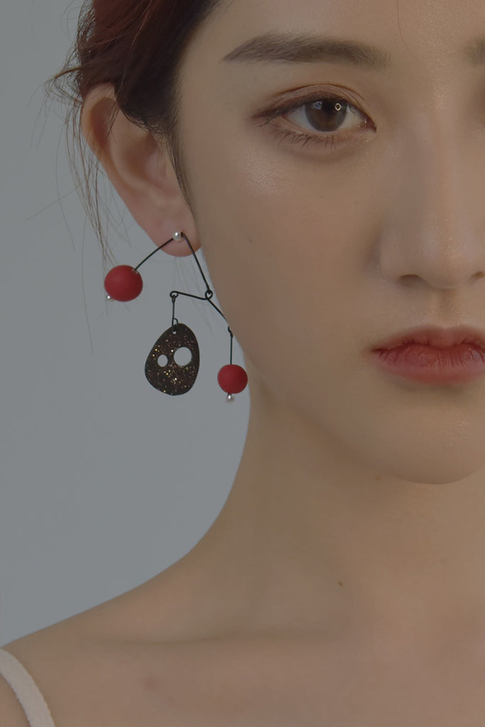 Art & Color Series - Black/Red Sculptural Drop Earring - AHED Project