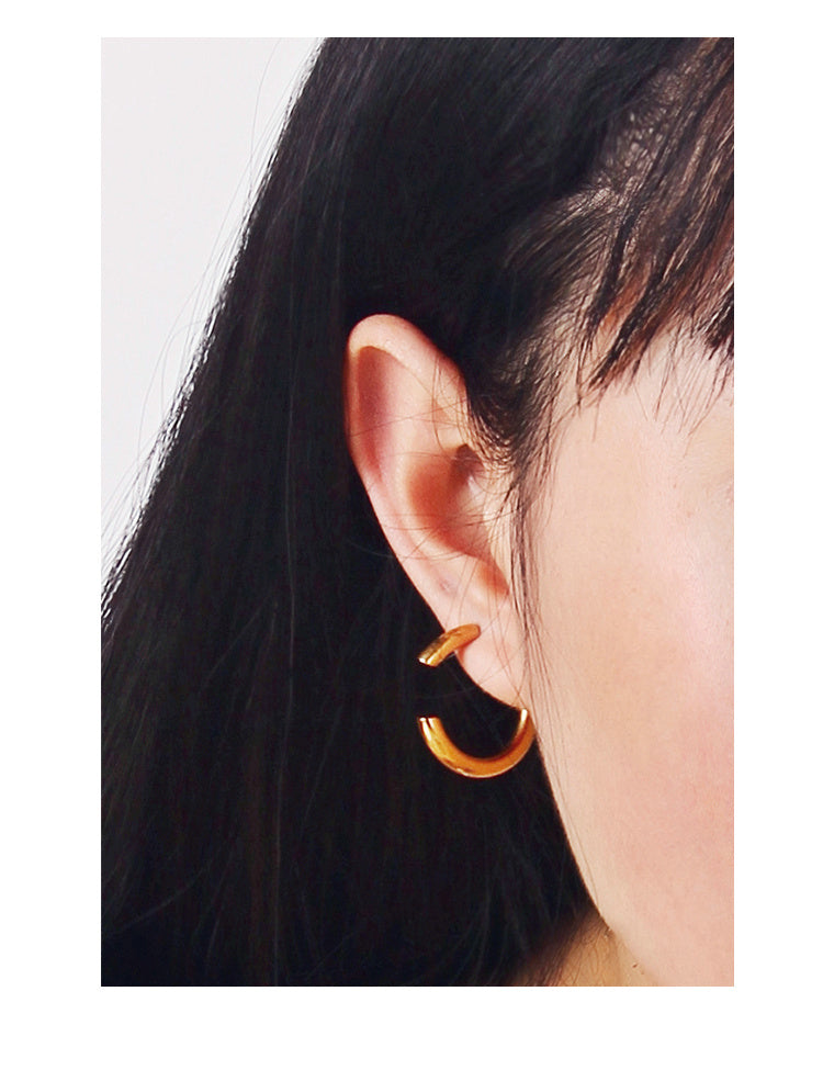18K Gold Plated Open Hoop Earrings - 2 Sizes - AHED Project