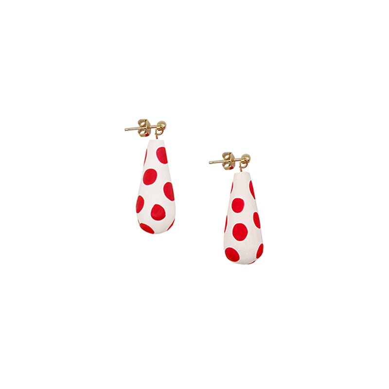 Teardrop Polka Dot Hoop Earrings (Quick to ship)